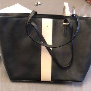 Large Black Kate Spade Bag with Pink Stripe